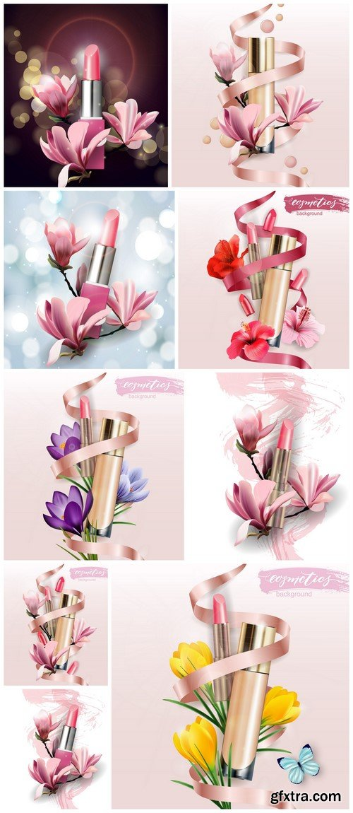 Beauty and cosmetics background 9X EPS