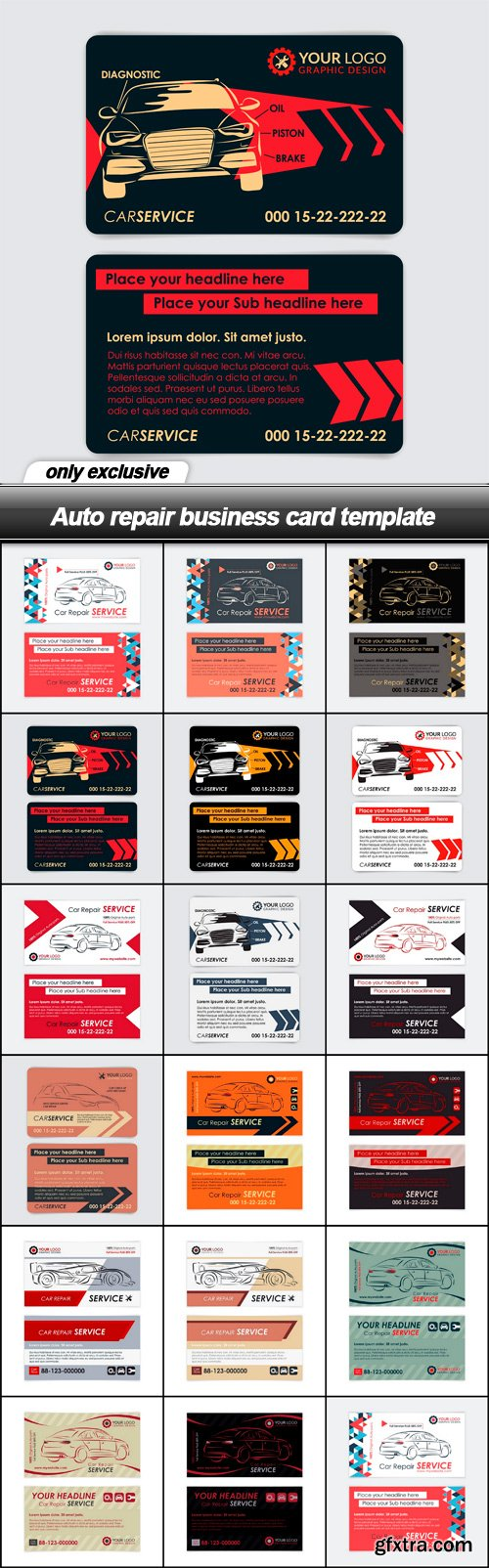 Auto repair business card template - 17 EPS