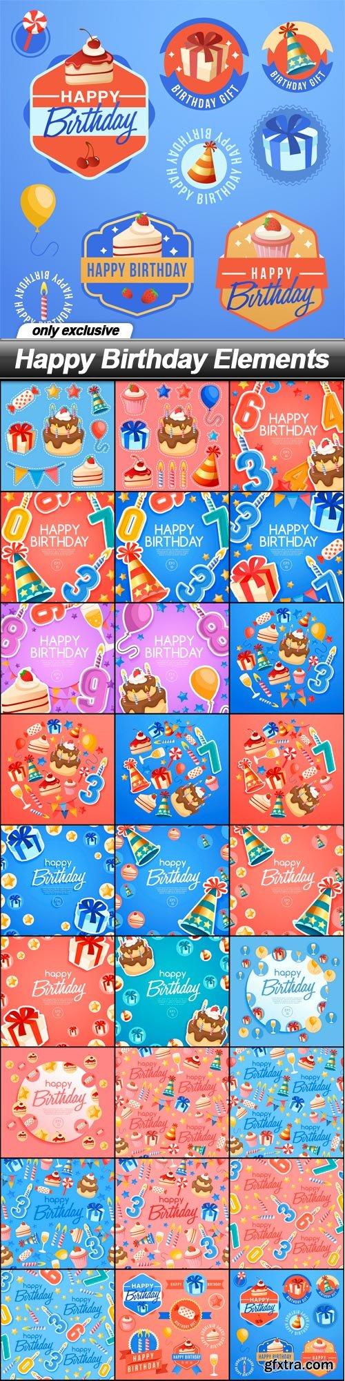 Happy Birthday Elements - 27 EPS