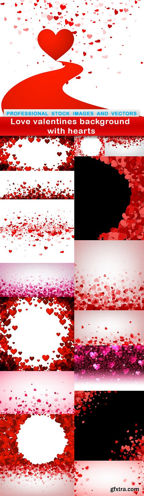 Love valentines background with hearts - 17 EPS