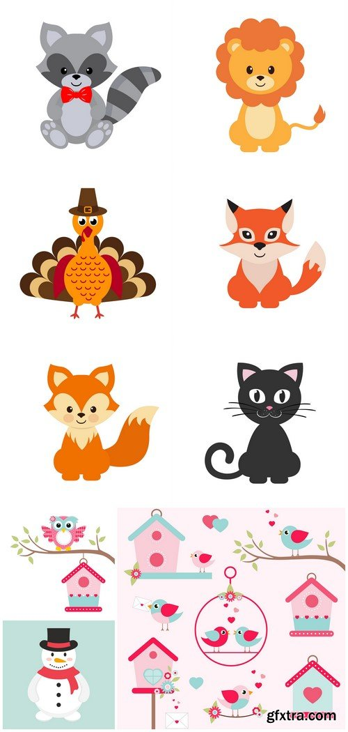 Owl, cat, fox and racoon 9X EPS
