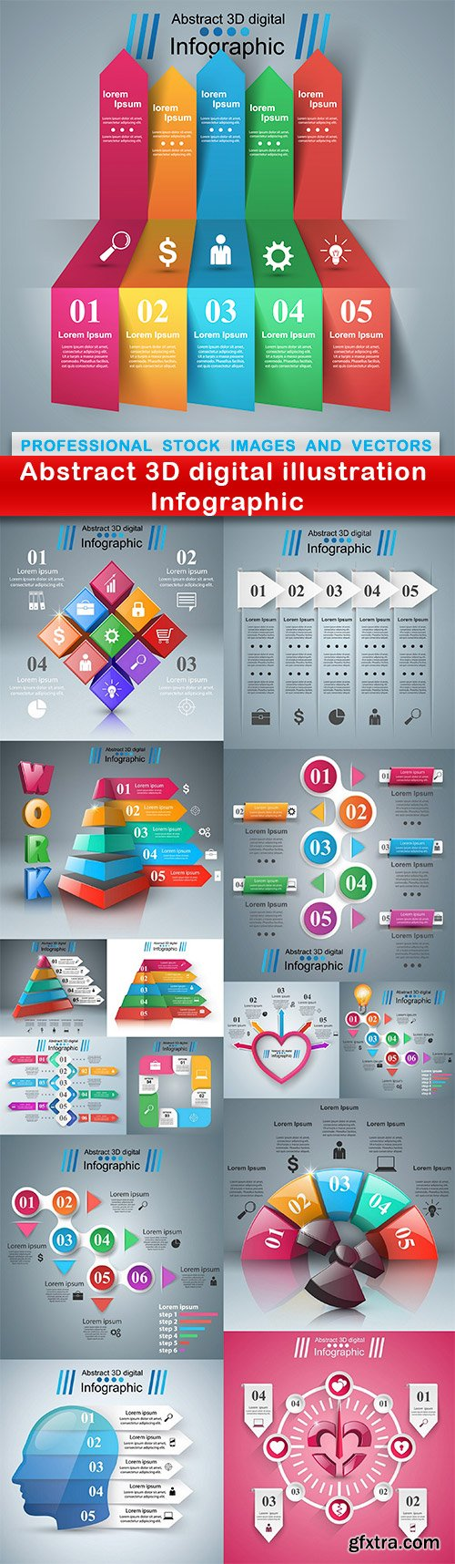 Abstract 3D digital illustration Infographic - 15 EPS