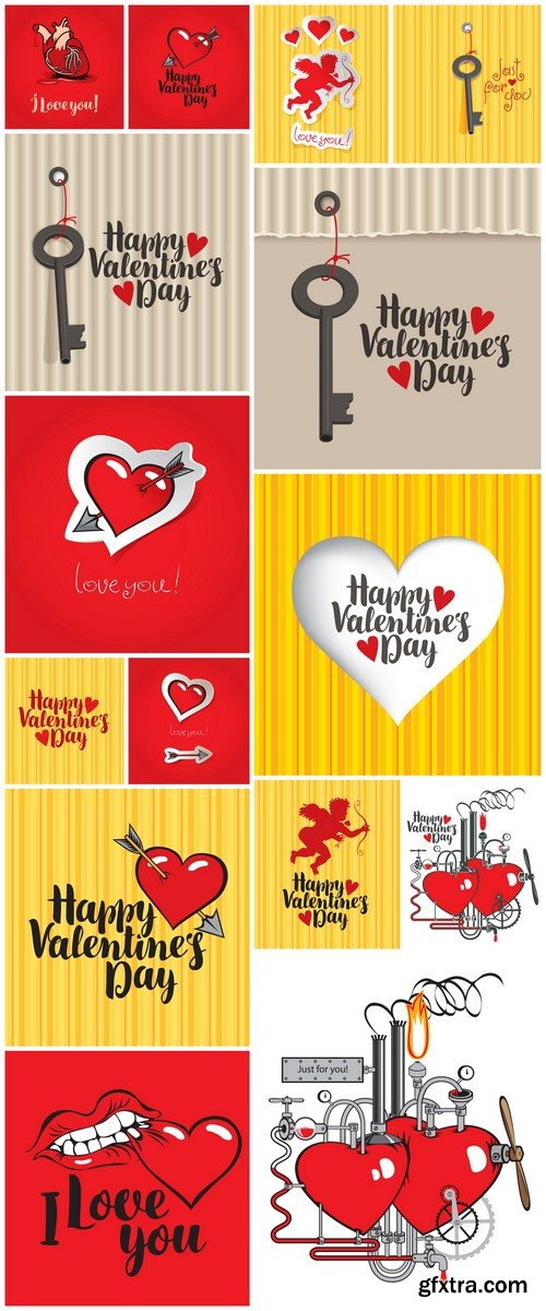 Card valentines day with hearts and Cupid with bow and arrow 15X EPS
