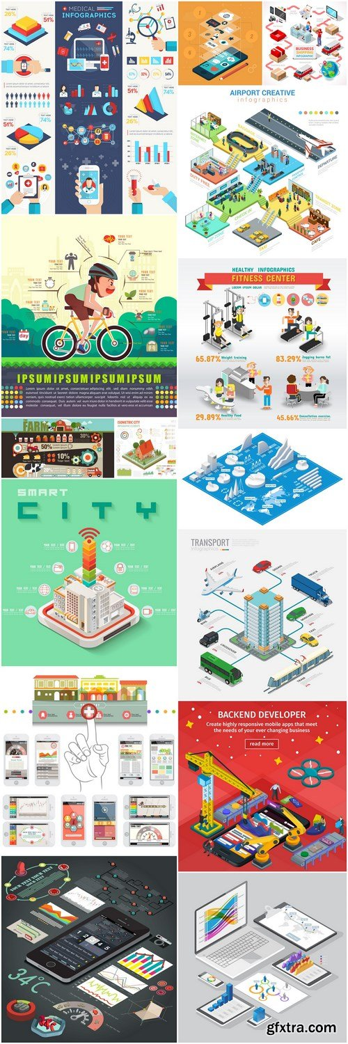 Different Flat Business Illustration - 15 Vector