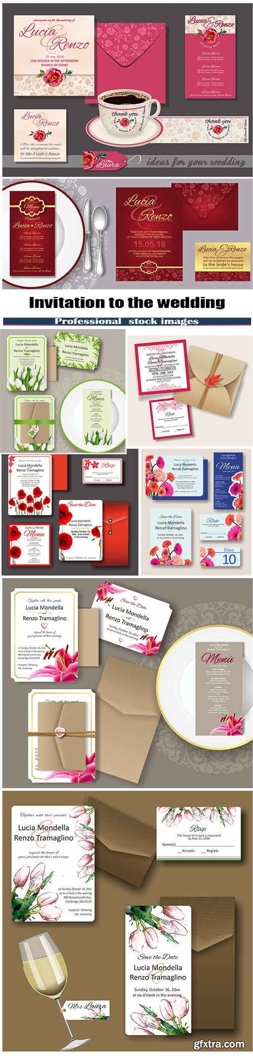 Invitation to the wedding with flowers
