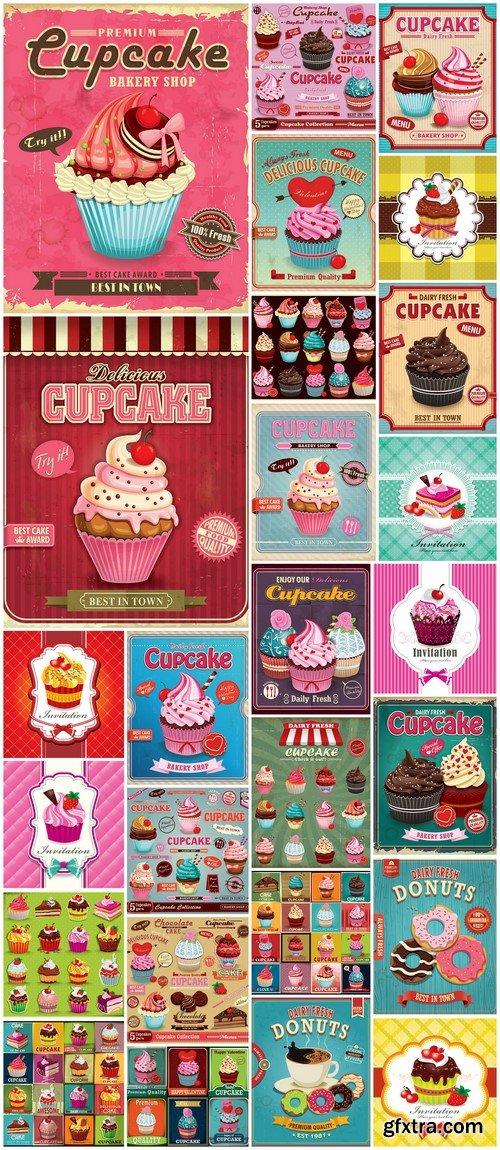 Chocolate muffins and cakes poster design 26X EPS