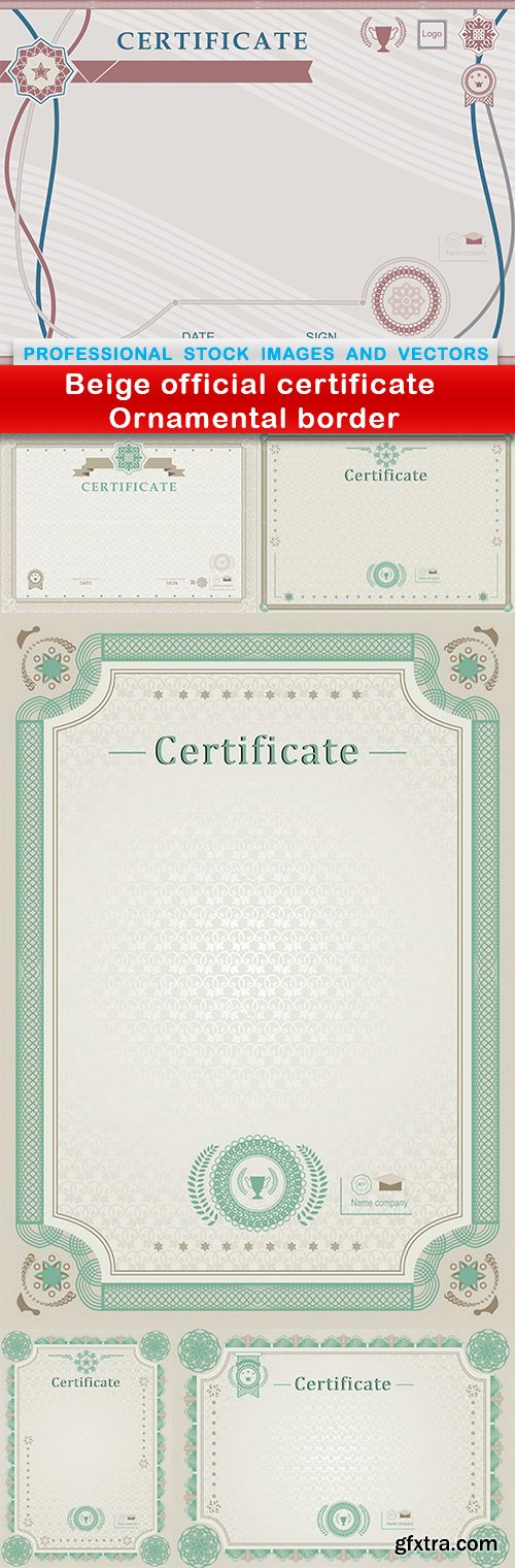 Beige official certificate Ornamental border - 6 EPS