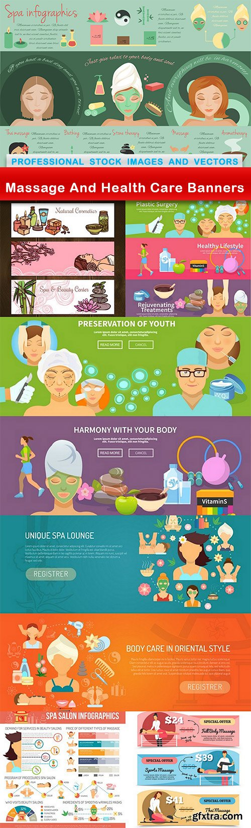 Massage And Health Care Banners - 7 EPS