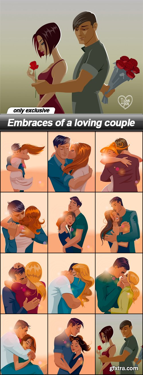 Embraces of a loving couple - 12 EPS