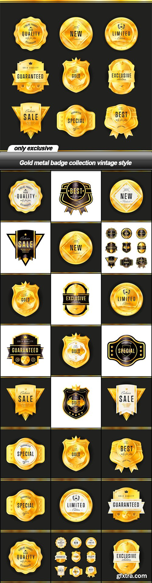 Gold metal badge collection vintage style - 25 EPS