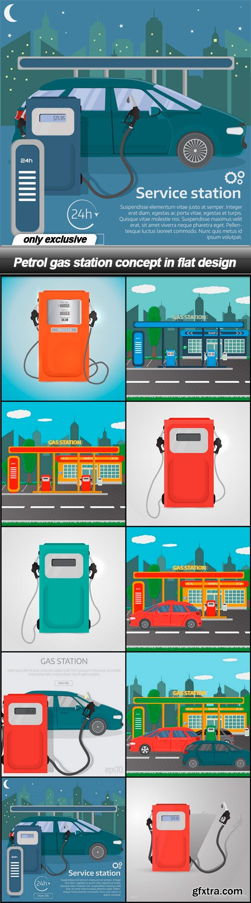 Petrol gas station concept in flat design - 10 EPS