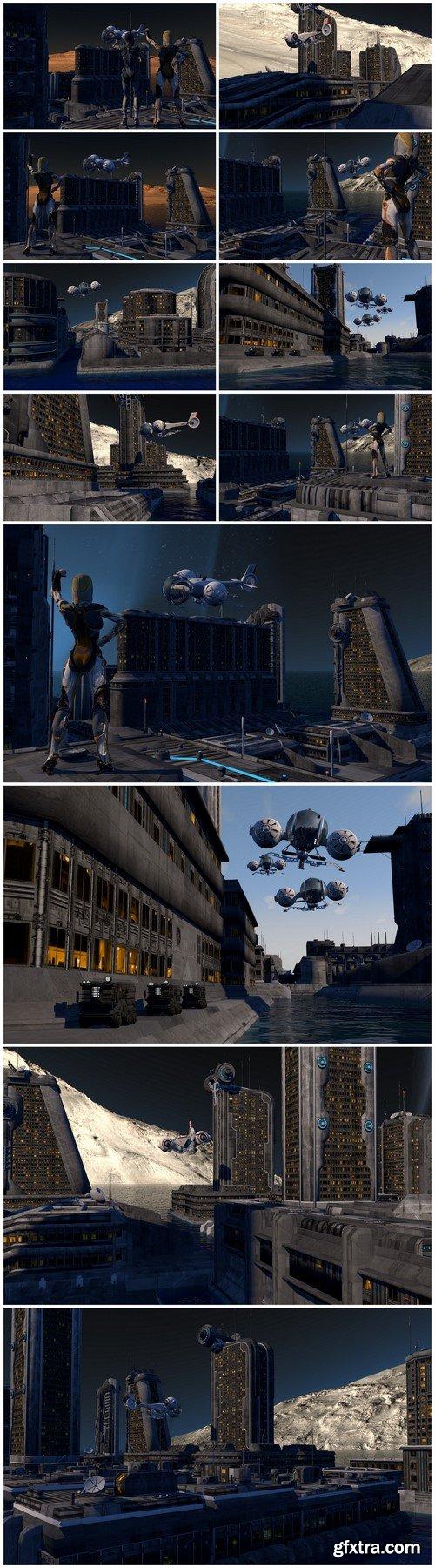 Fantasy Spacecraft 3D-rendering 12X JPEG