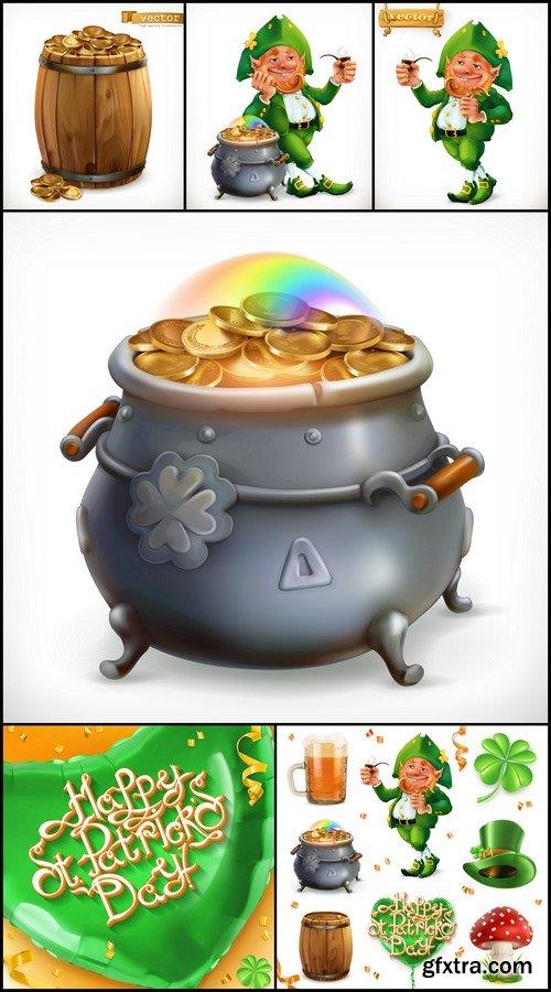 Feast of Saint Patrick. 3d vector icon set 6X EPS