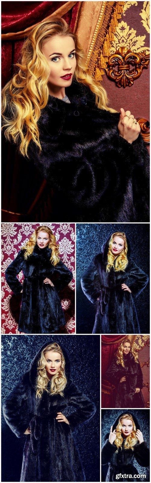 Fashion beautiful blonde woman wearing mink fur coat 6X JPEG
