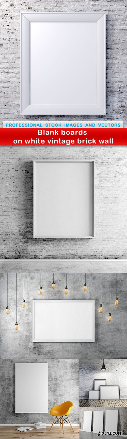 Blank boards on white vintage brick wall - 6 UHQ JPEG