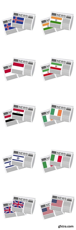 Illustration of Newspapers, Flag