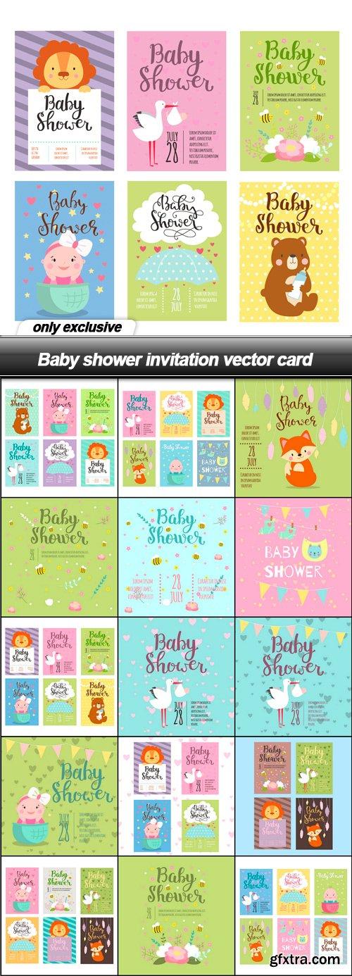 Baby shower invitation vector card - 15 EPS