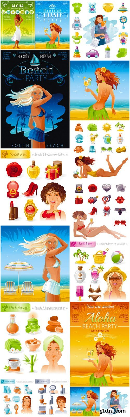 Beautiful Girls And Body Care - 16 Vector