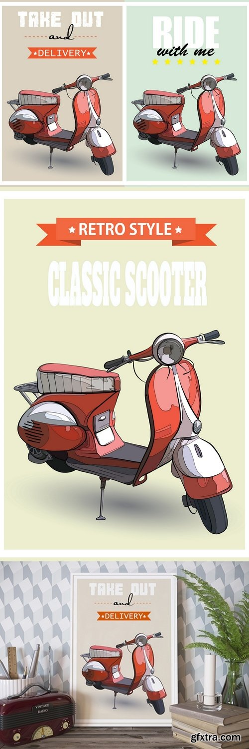 3d illustration of interior mockups with retro scooter picture
