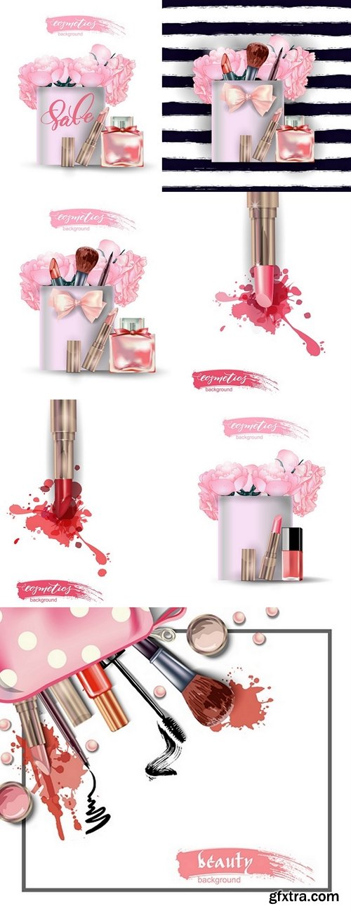 Beauty and cosmetics background. Beauty Concept. Use for advertising flyer, banner, leaflet. Template Vector