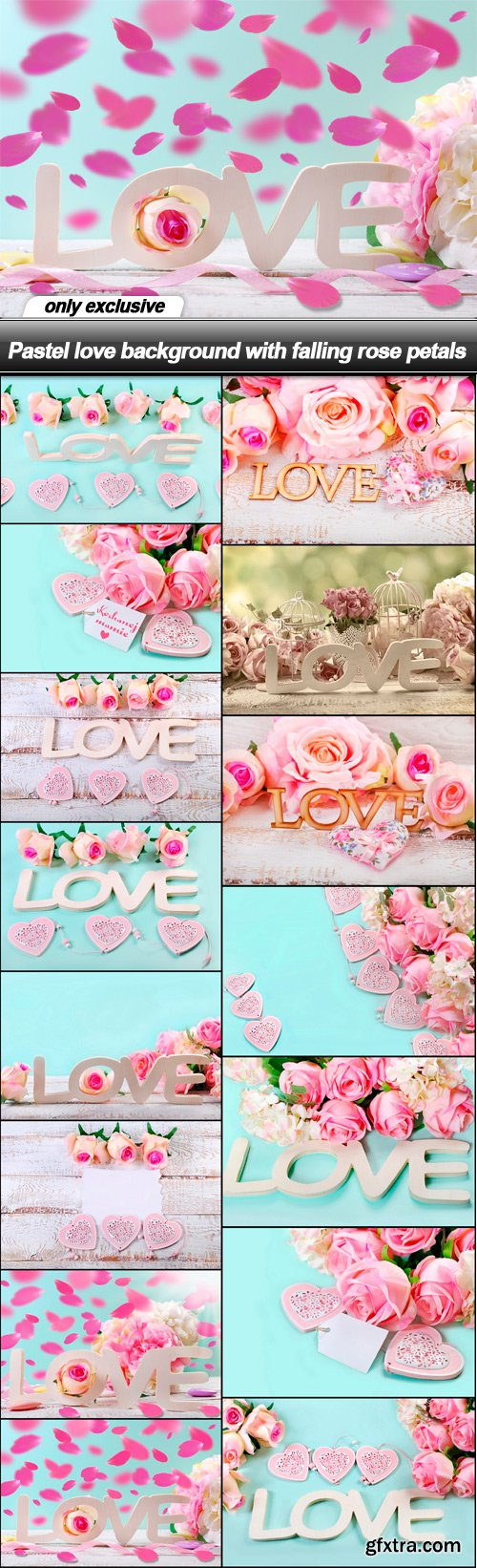 Pastel love background with falling rose petals - 15 UHQ JPEG