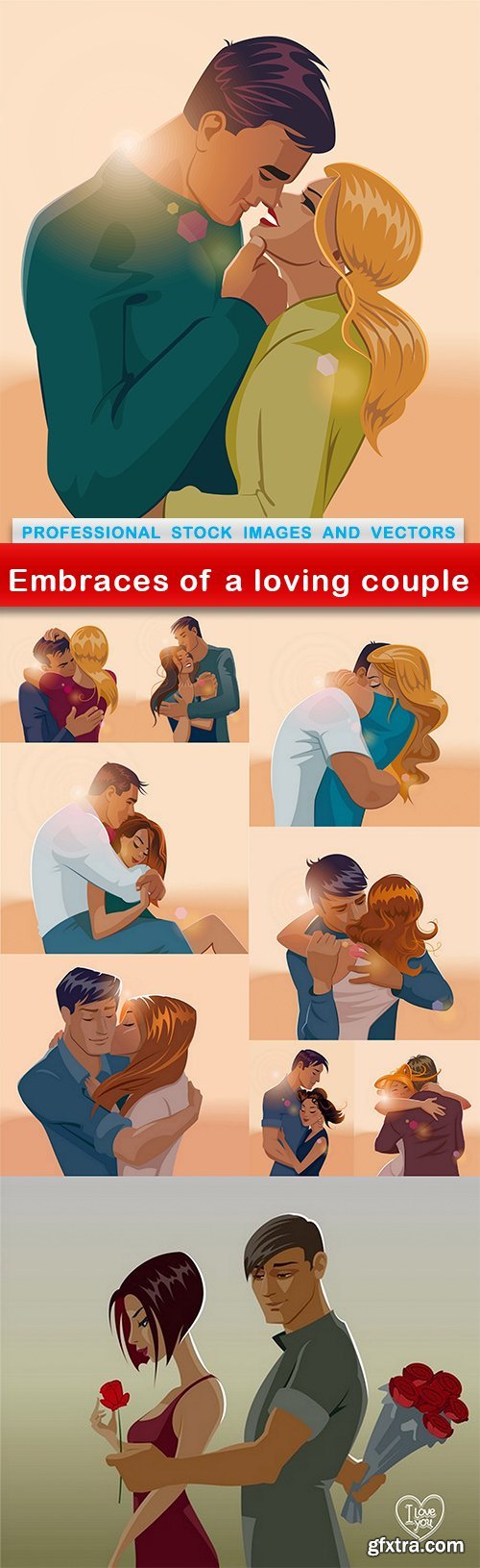 Embraces of a loving couple - 10 EPS