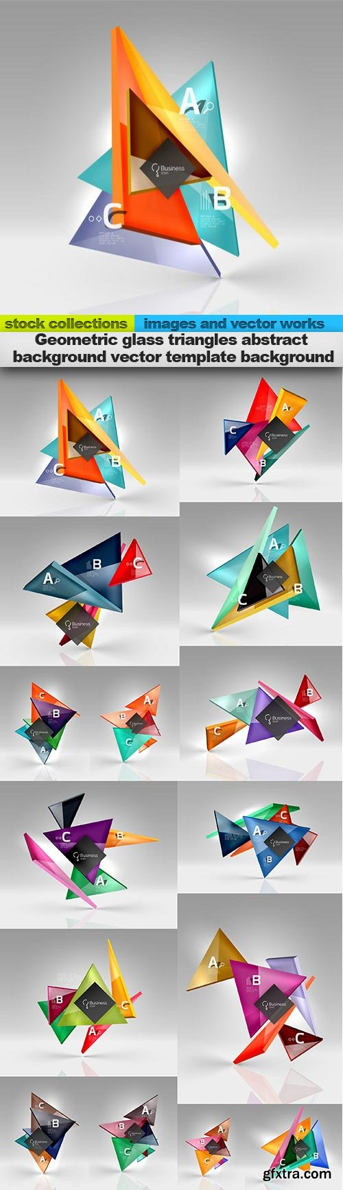Geometric glass triangles abstract background vector template background, 15 x EPS