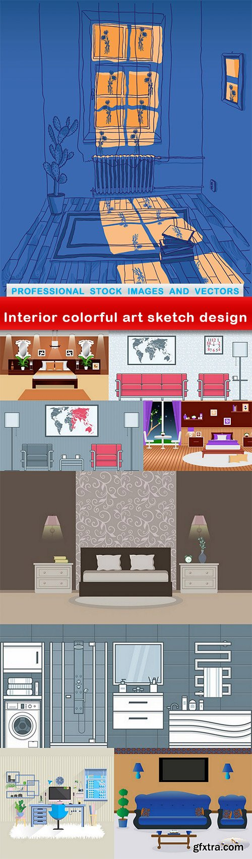 Interior colorful art sketch design - 9 EPS