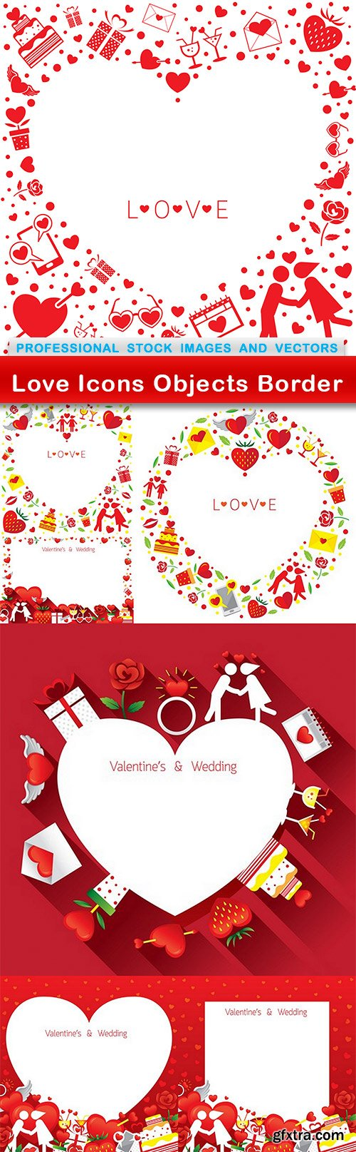Love Icons Objects Border - 7 EPS
