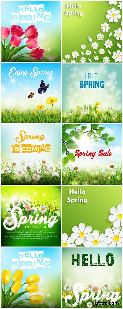 Gift cards Hello Spring 10X EPS