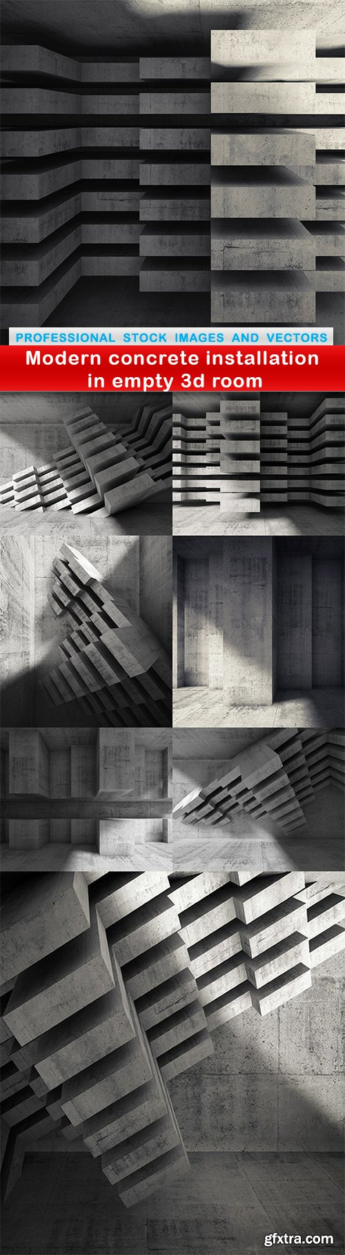 Modern concrete installation in empty 3d room - 8 UHQ JPEG