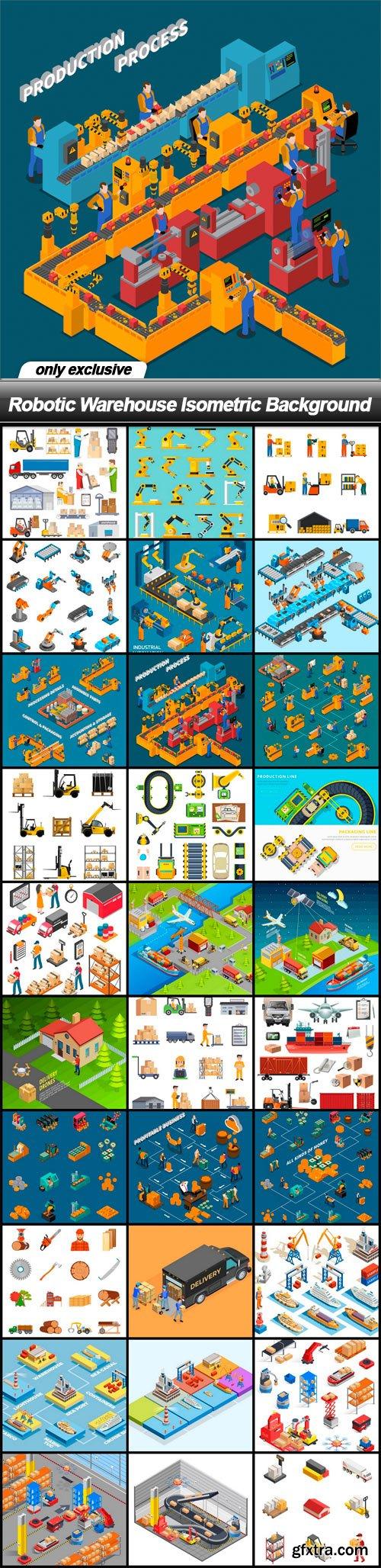 Robotic Warehouse Isometric Background - 30 EPS