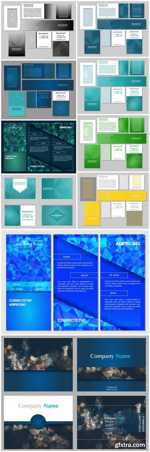 Abstract Business Card Flyer Banners - 11 Vector