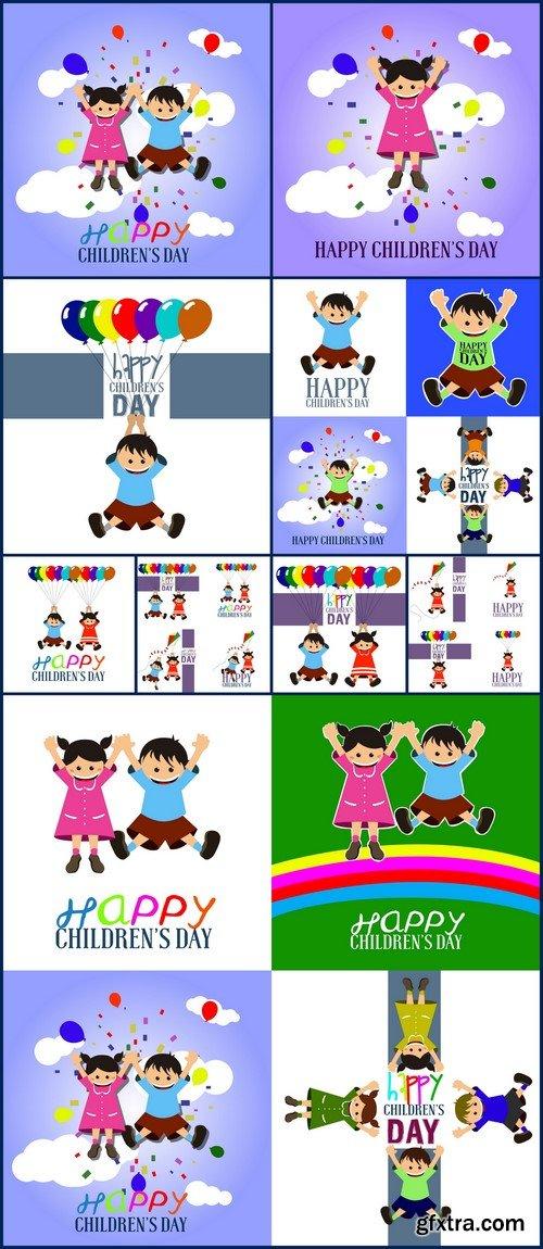 Happy childrens day 9X EPS