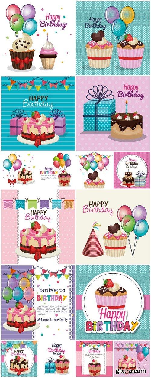 Happy birthday party invitation with sweet cupcake 16X EPS