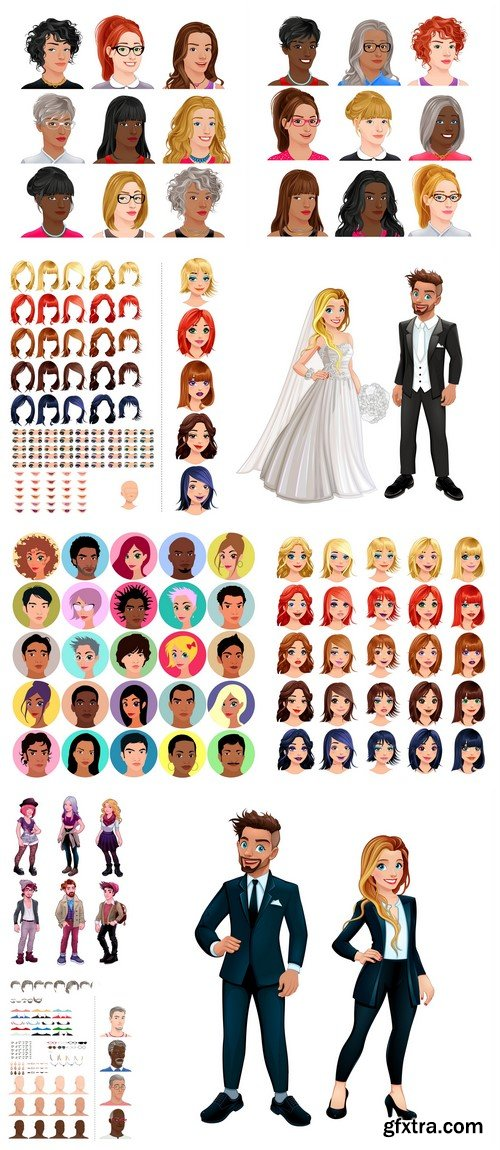 Collection of female and male face 9X EPS