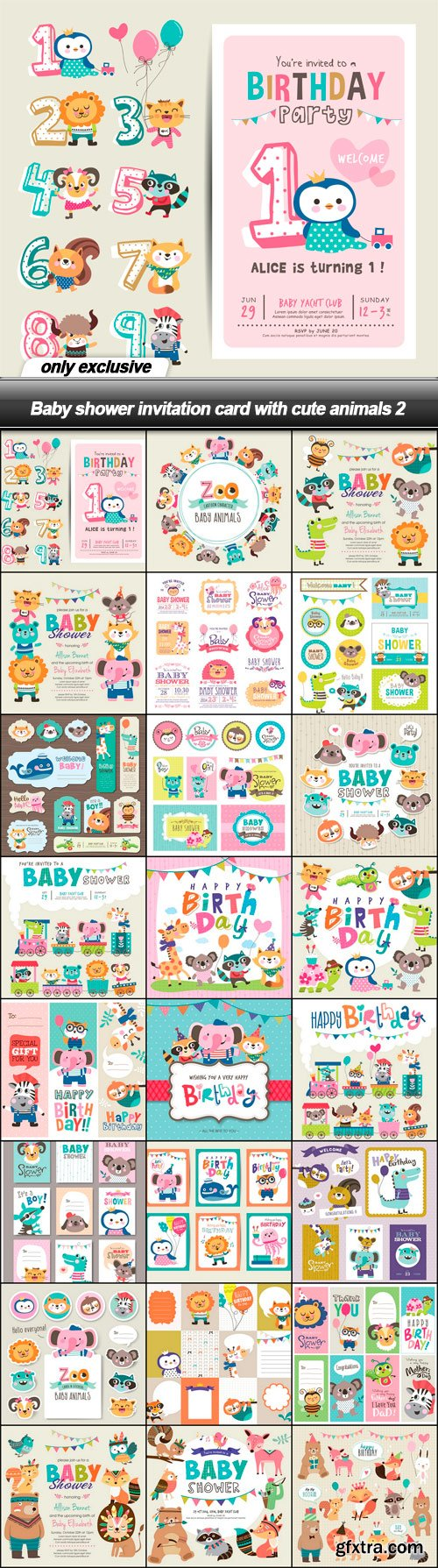 Baby shower invitation card with cute animals 2 - 24 EPS