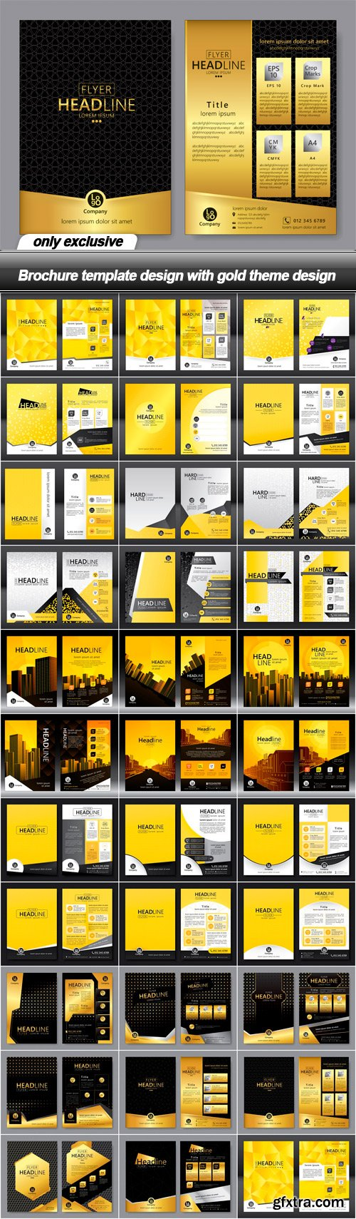 Brochure template design with gold theme design - 32 EPS