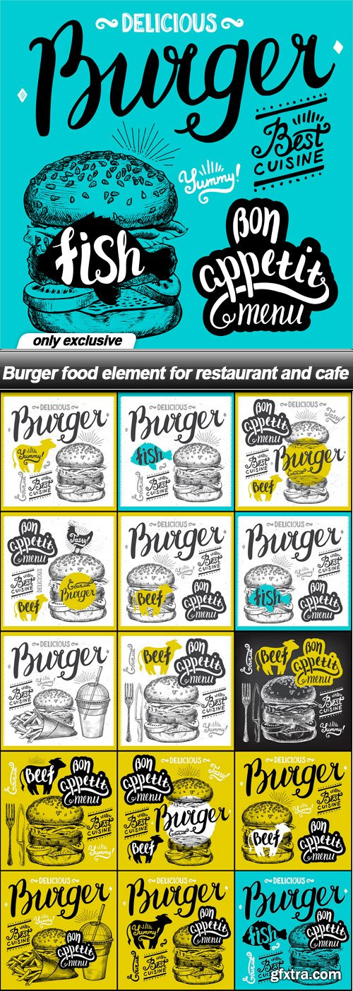 Burger food element for restaurant and cafe - 16 EPS