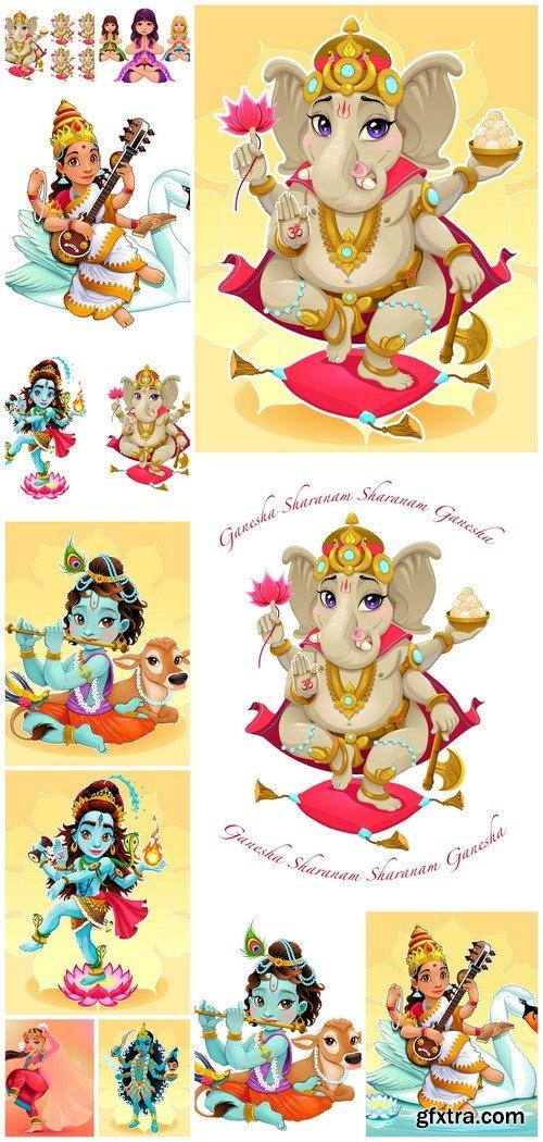 Cartoon representation of eastern god Ganesha 12X EPS