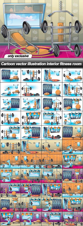 Cartoon vector illustration interior fitness room - 44 EPS