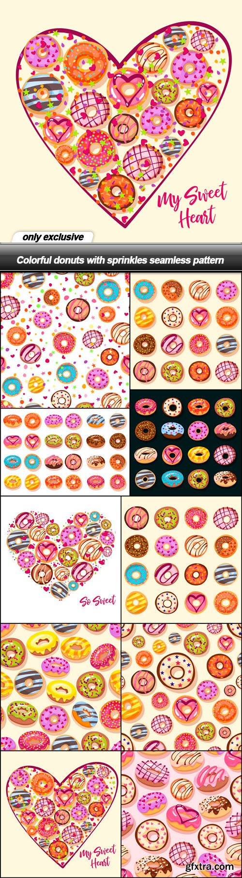 Colorful donuts with sprinkles seamless pattern - 10 EPS
