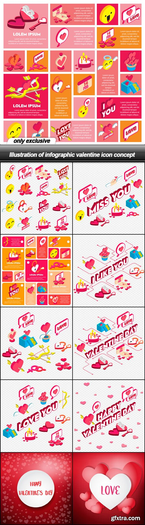 Illustration of infographic valentine icon concept - 11 EPS