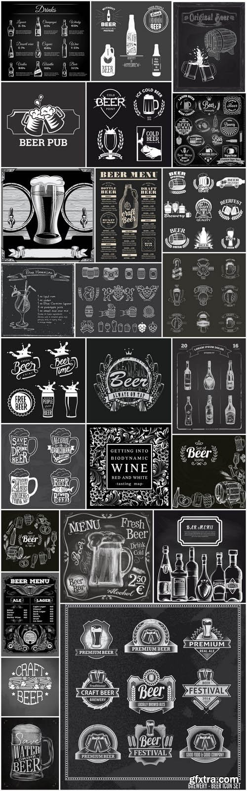 Beer Wine Whiskey Chalkboard - 25 Vector
