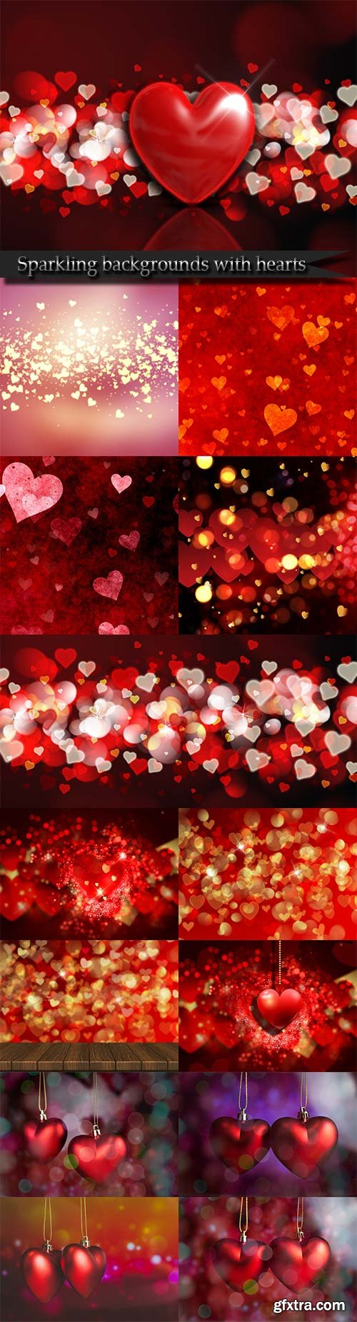 Sparkling backgrounds with hearts