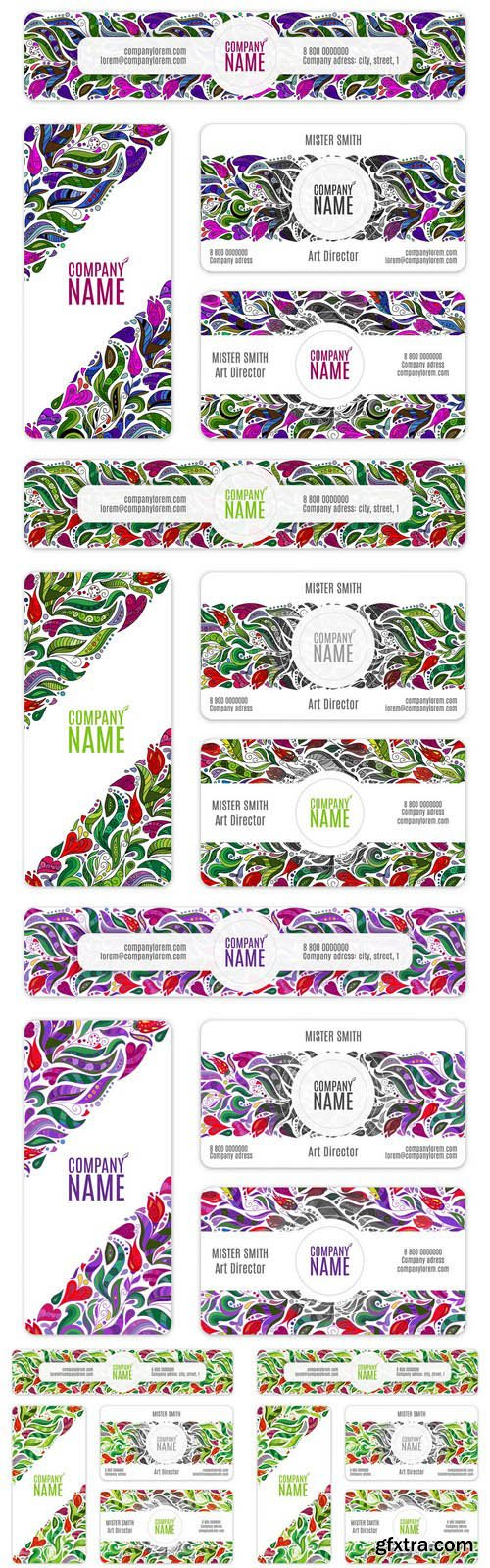 Abstract Flowers Pattern Banners - 5 Vector