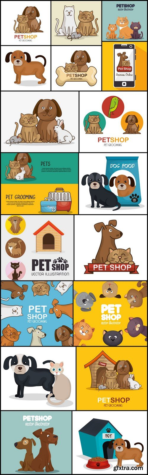 Pet shop cats and dog care vector illustration 18X EPS