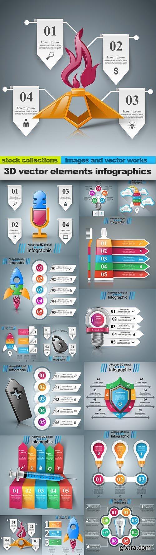 3D vector elements infographics, 15 x EPS