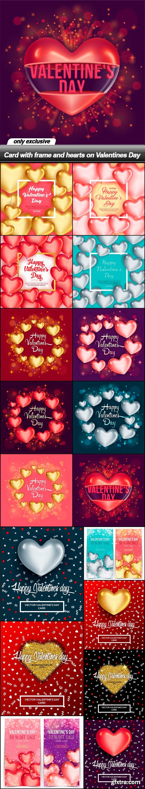 Card with frame and hearts on Valentines Day - 17 EPS