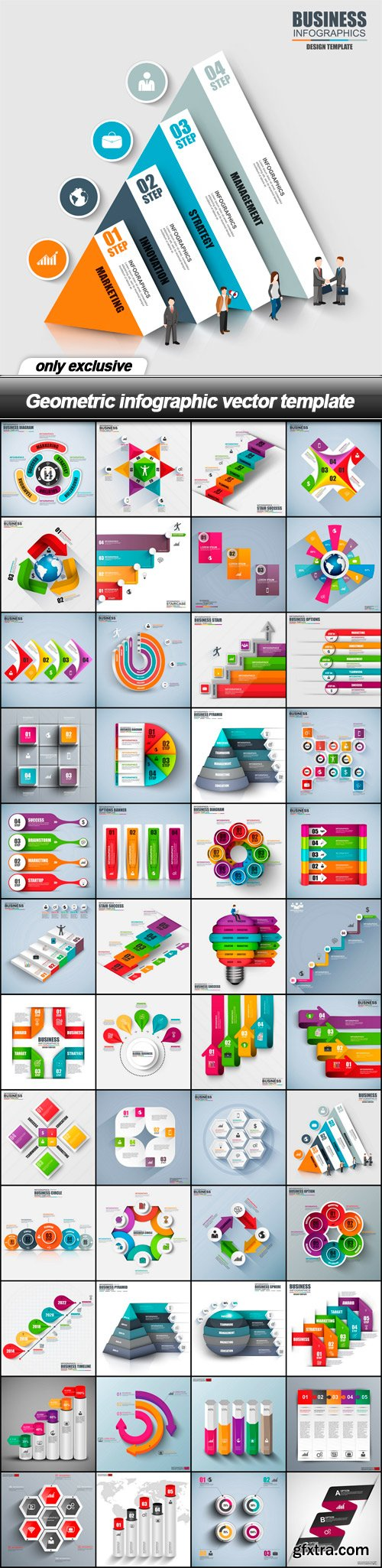 Geometric infographic vector template - 48 EPS